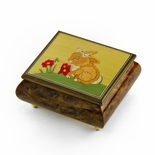 Adorable Handcrafted Italian Musical Jewelry Box with Girl Bunny with Bow Inlay