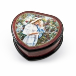 Adorable Heart Shape Painted Ercolano Music Jewelry Box Titled -Mother and Child in Greenhouse by Sandra Kack