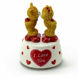 Adorable Kissing Bears Animated Musical Figurine