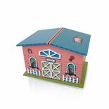 Adorable Pink and Blue Pony Farmhouse with Spinning Pony Music Jewelry Box