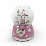 Adorable Pink And Silver Teddy Bear On Rocking Horse Animated Snow Dome
