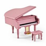 Adorable Pink Baby Grand Piano Music Jewelry Box with Bench