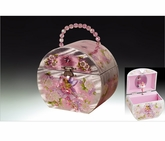 Adorable Silver Pink Ballerina Box With Fairy Inlay