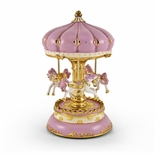 Exquisite Pink with Gold Accents Animated Carousel Horse
