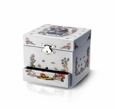 Adorable White Fairy Design Spinning Ballerina Music Jewelry Box