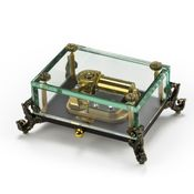 Alluring 30 Note Crystal Glass Music Box w. Detailed Feet, Limited Sale