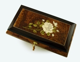Alluring and Radiant 36 Note Single Stem White Rose Grand Musical Jewelry Box with Lift Up Tray