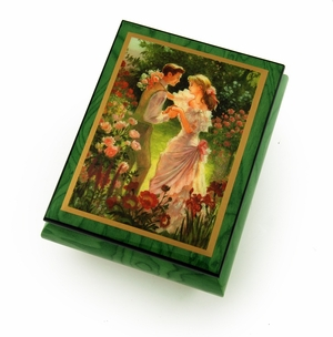 """Alluring Forest Green Ercolano Music Jewelry Box  - """"Summer's Meeting"""" by  Brenda Burke"""