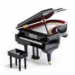 Amazing 18 Note Miniature Musical Hi-Gloss Black Grand Piano Jewelry Box