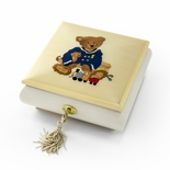 Amazing 22 Note Beige & Ivory Navy Thread Bear with Toys Music Box