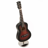 An Amazing Miniature Replica of A Dark Gradient Brown Steel-String Acoustic Guitar with Stand & Case