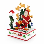 Animated Giant Santa Clause with Rotating Reindeers Musical Keepsake