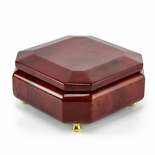 Astonishing Beveled Octagonal Wood Classic Style Music Jewelry Box
