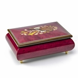 Astonishing Handcrafted 22 Note Red Wine Musical Instrument Theme Wood Inlay Music Box