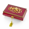 Beautiful 22 Note Red-Wine Floral Inlay Musical Jewelry Box with Lock and Key