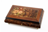 Beautiful 50 Note Walnut Music Box with Floral Bouquet Inlay and Rosewood Border