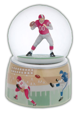 Beautiful Football Player With Double Layered Base Musical Water Globe