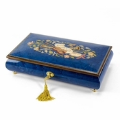 Beautiful Royal Blue Instrumentl and Floral Wood Inlay Music Box