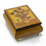 Beautiful Sunflowers Theme Inlaid Ercolano Art Musical Jewelry Box