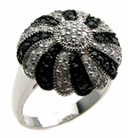 Black And Clear Round Ring Swirl With Cubic Zerconia Stones