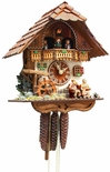 "Black Forest VDS Certified 1 Day Musical Cuckoo Clock with Mill Wheel and Grandparents by Rombach and Haas  (Extra 20% Off Sale Price - Code ""romba20"")"