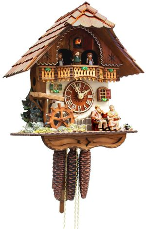 """Black Forest VDS Certified 1 Day Musical Cuckoo Clock with Mill Wheel and Grandparents by Rombach and Haas  (Extra 20% Off Sale Price - Code """"romba20"""")"""