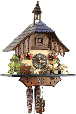 Black Forest Chalet Style 1 Day Cuckoo Clock with Beer Drinker