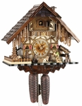 Black Forest Chalet Style 1 Day Cuckoo Clock with Water-Mill and Happy Wanderer