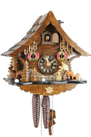 Black Forest Chalet Style 1 Day Cuckoo Clock with Wood Chopper