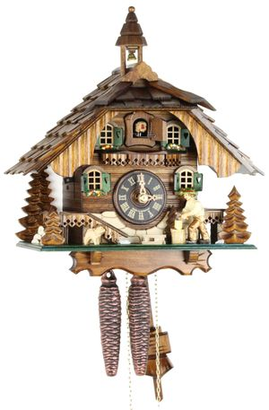 Black Forest Chalet Style 1 Day Cuckoo Clock with Wood Chopper and Bell