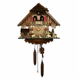Black Forest Chalet Style 1 Day Musical Cuckoo Clock with Water-Mill and Wanderer