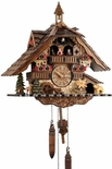 Black Forest Chalet Style Musical 1 Day Cuckoo Clock with Little Girl on Rocking Horse