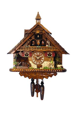 Black Forest Chalet Style Musical 1 Day Cuckoo Clock with Wanderer and Bell Tower