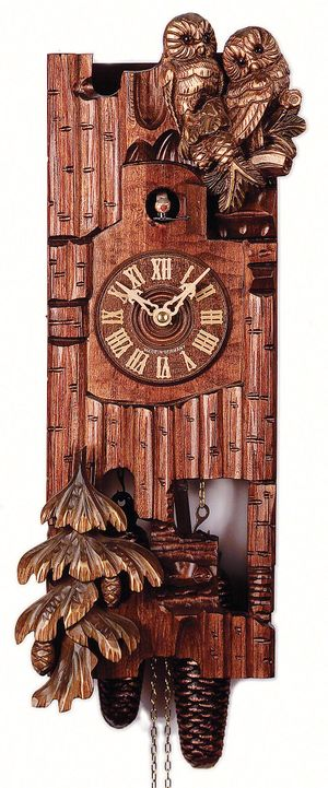 """Black Forest VDS Certified Hand Carved 8 Day Cuckoo Clock with Owls by Rombach and Haas (Extra 20% Off Sale Price - Code """"romba20"""")"""
