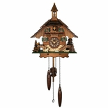 Black Forest Quartz Chalet Style Cuckoo Clock with Bell and Dog