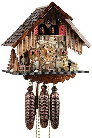 Black Forest Quartz Chalet Style Cuckoo Clock with Happy Beer Drinker