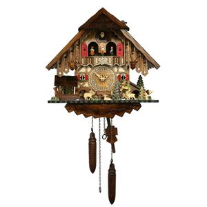 Black Forest Quartz Chalet Style Cuckoo Clock with Water-Mill and Happy Wanderer