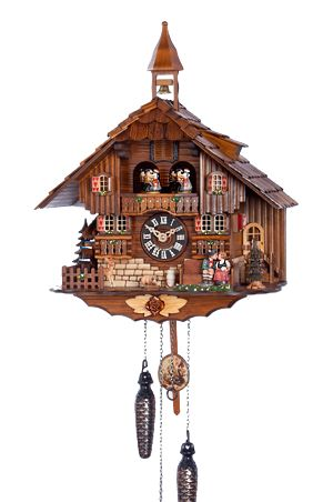 Black Forest Quartz Musical Chalet Cuckoo Clock with Kissing Couple by Trenkle Uhren