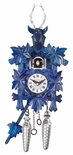 Black Forest Traditional Style 1 Day Blue Cuckoo Clock with Hand Stags Head and Leaves
