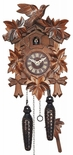 Black Forest Traditional Style 1 Day Cuckoo Clock with Hand Carved Stags Head and Leaves