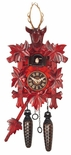 Black Forest Traditional Style 1 Day Red Cuckoo Clock with Hand Carved Stags Head and Leaves