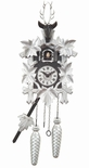 Black Forest Traditional Style 1 Day Silver Cuckoo Clock with Hand Carved Stags Head and Leaves