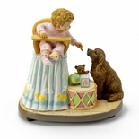 Bob Byerley Musical Figurine Title �Sharing� with Child and Dog
