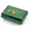 Brilliant Green Stain 22 Note Musical Jewelry Box with Frog on Lily Pad with Fireflies Wood Inlay