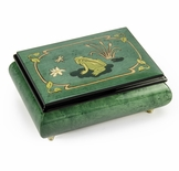 Brilliant Green Stain 30 Note Musical Jewelry Box with Frog on Lily Pad with Fireflies Wood Inlay