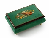 Brilliant Handcrafted 30 Note Mint Green Musical Instrument Theme Wood Inlay Music Box
