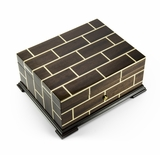 Brilliant Wood Tone Modern Masonry Design 50 Note Sankyo Music Box HUGE SPECIAL