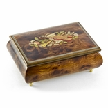 Charming 22 Note Hand Made Walnut Instrument Theme Wood Inlay Music Box