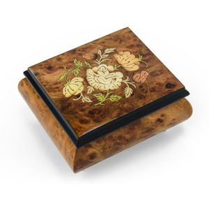 Charming Floral Wood Inlay Finish Musical Jewelry Box