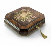 Charming Handcrafted Octagonal Italian Music Box with Floral Bouquet Inlay